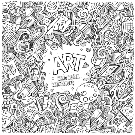 Illustration pour Cartoon vector doodles hand drawn art and craft frame background - image libre de droit