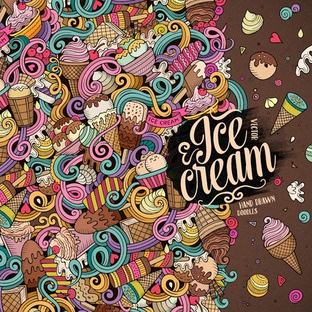 Illustration for Cartoon hand-drawn doodles Ice Cream illustration. Line art colorful detailed, with lots of objects vector design background - Royalty Free Image