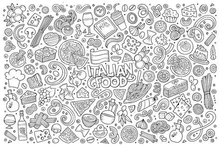 Line art vector hand drawn doodle cartoon set of italian food objects and symbols