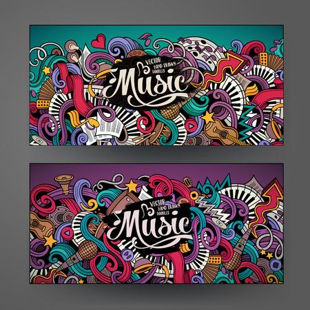 Illustration pour Cartoon colorful vector hand drawn doodles music corporate identity. 2 Horizontal banners design. Templates set - image libre de droit