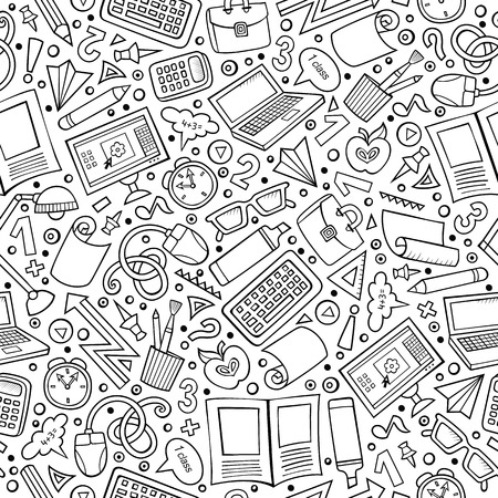 Illustration pour Cartoon cute hand drawn Science seamless pattern. Line art detailed, with lots of objects background. Endless funny vector illustration. Sketchy scientific backdrop. - image libre de droit