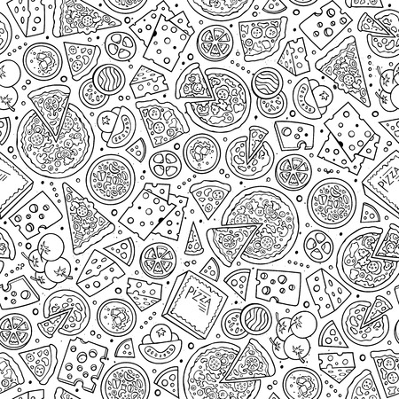 Illustration pour Cartoon cute hand drawn Pizza seamless pattern. Line art with lots of objects background. Endless funny vector illustration. Sketch backdrop with fastfood symbols and items - image libre de droit
