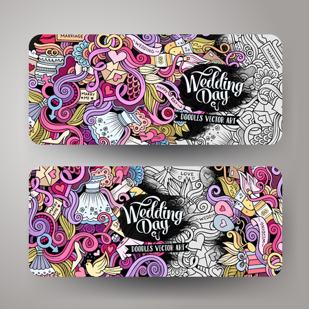Illustration for Cartoon cute colorful vector hand drawn doodles wedding corporate identity. 2 horizontal banners design. Templates set - Royalty Free Image