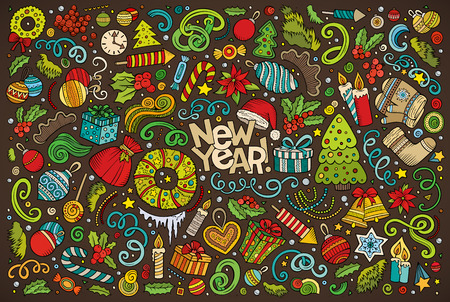 Illustration for Colorful vector hand drawn doodle cartoon set of New Year and Christmas objects and symbols - Royalty Free Image