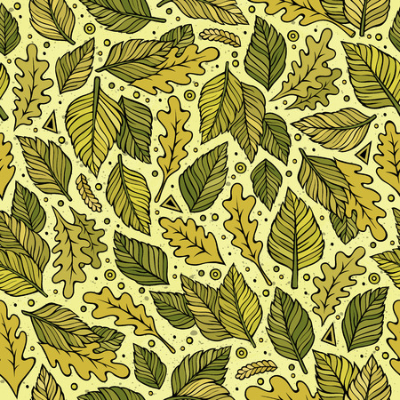 Ilustración de Cartoon cute hand drawn Green leaves seamless pattern - Imagen libre de derechos