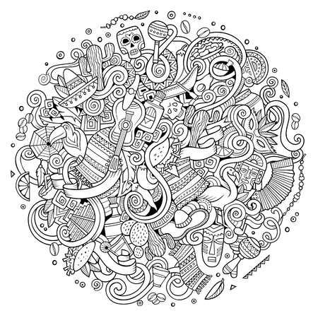 Illustration for Cartoon hand-drawn doodles Latin American illustration. Line art - Royalty Free Image