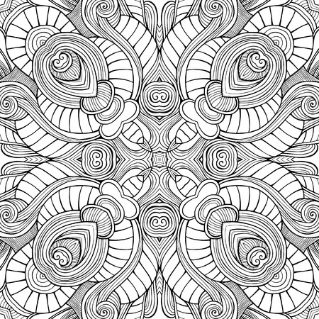 Illustration pour Abstract vector decorative ethnic hand drawn sketchy contour seamless pattern - image libre de droit