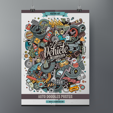 Illustration pour Cartoon doodles Vehicle poster - image libre de droit