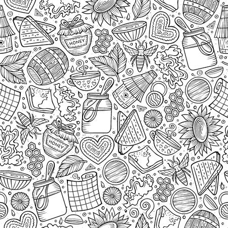 Ilustración de Cartoon cute Honey seamless pattern - Imagen libre de derechos