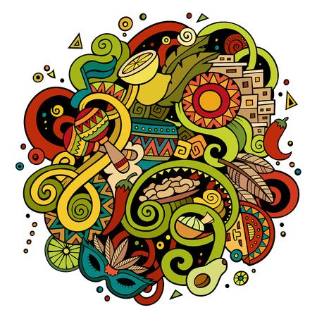 Illustration pour Cartoon hand-drawn doodles Latin American illustration - image libre de droit