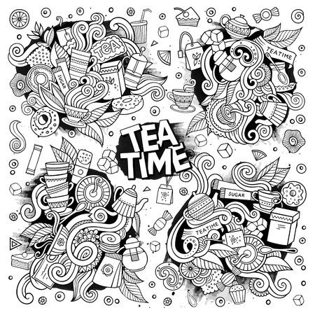 Ilustración de Tea time doodles hand drawn sketchy vector doodle designs - Imagen libre de derechos