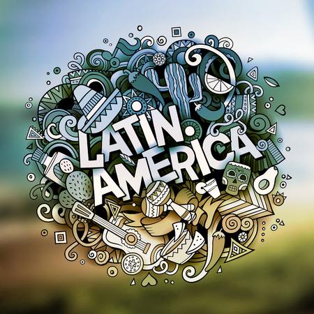 Illustration pour Cartoon vector hand drawn Doodle Latin America word illustration - image libre de droit