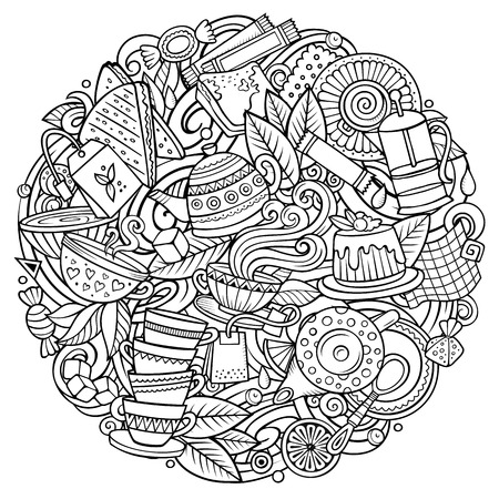 Ilustración de Cartoon vector doodles Tea illustration. Line art, detailed, with lots of objects background. All objects separate. Sketchy Cafe funny round picture - Imagen libre de derechos