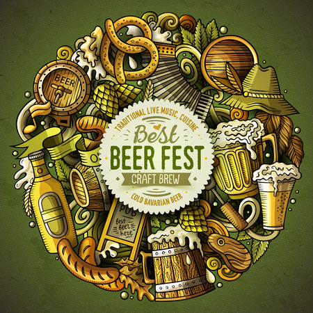 Illustration for Cartoon vector doodles Beer fest illustration - Royalty Free Image