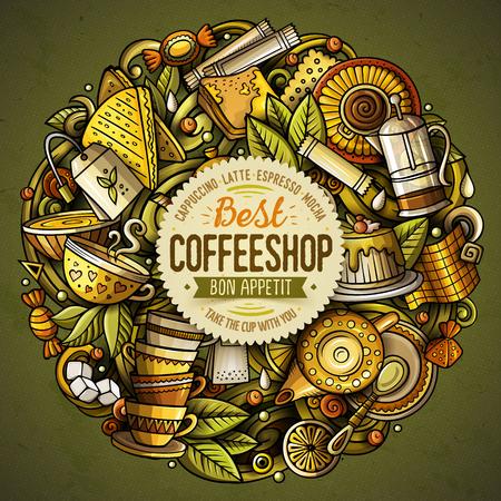 Ilustración de Best coffee shop doodle banner. - Imagen libre de derechos