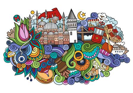 Ilustración de Istanbul vector hand drawn illustration - Imagen libre de derechos