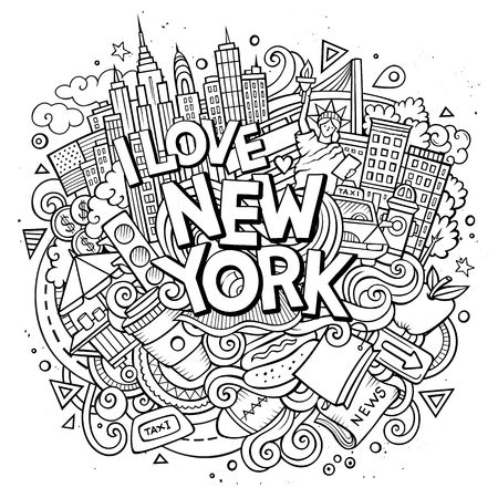 Illustration pour Cartoon cute doodles hand drawn I love New York inscription. Sketch illustration with American theme items. Line art detailed, with lots of objects background. Funny vector artwork. - image libre de droit