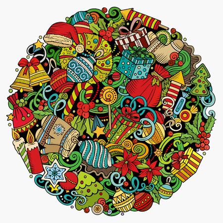Illustration pour Cartoon doodles Christmas and New Year illustration. - image libre de droit