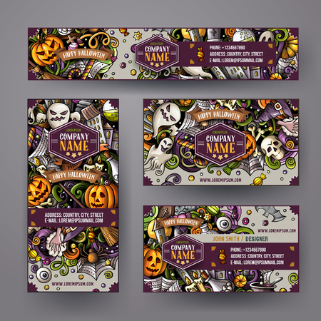 Illustrazione per Corporate Identity vector templates set with doodles hand drawn Halloween theme - Immagini Royalty Free