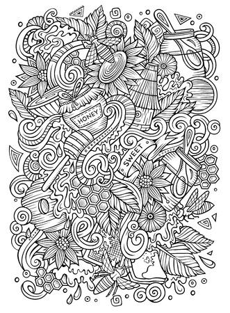Illustration pour Cartoon cute doodles hand drawn Honey illustration - image libre de droit