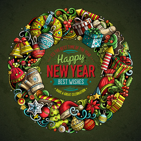 Illustration pour Cartoon vector doodles New Year round frame design. Colorful detailed, with lots of objects illustration. All items are separate. Bright colors holiday funny border - image libre de droit