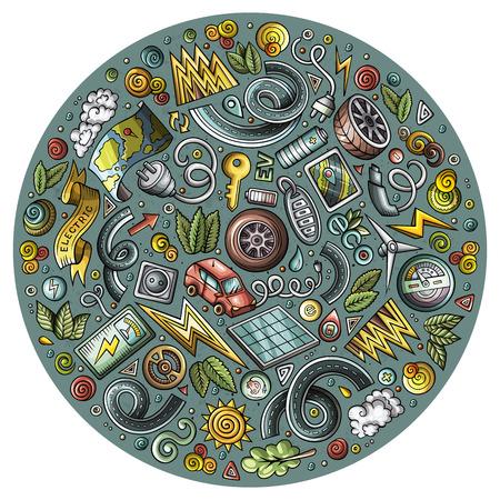 Illustration pour Colorful vector set of Electric cars cartoon doodle objects - image libre de droit