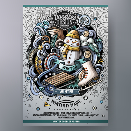 Illustration pour Cartoon hand drawn doodles Winter poster design template. Very detailed, with lots of separate objects illustration. Funny vector artwork. - image libre de droit