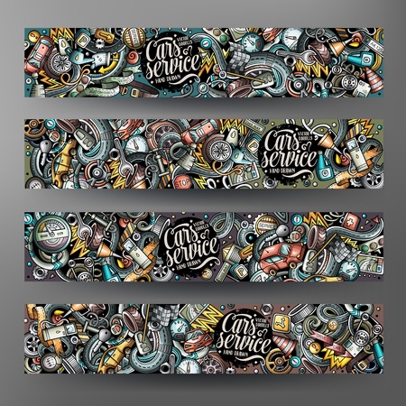 Ilustración de Cartoon cute colorful vector hand drawn doodles automotive banners - Imagen libre de derechos