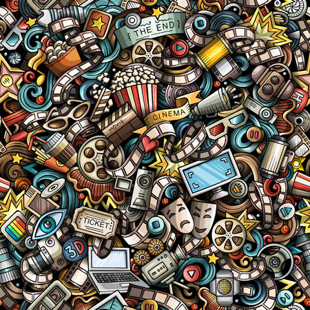 Ilustración de Cartoon cute doodles Cinema seamless pattern. Colorful illustration with lots of objects. All items separated. Background with movie symbols and elements - Imagen libre de derechos