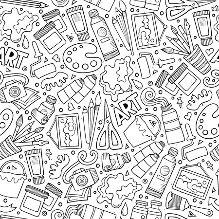 Illustration pour Cartoon cute hand drawn Design and Art seamless pattern. Illustration with lots of elements. Endless funny vector background - image libre de droit