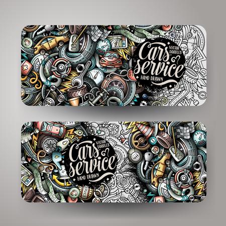 Illustration pour Cartoon cute colorful vector hand drawn doodles automotive banners - image libre de droit
