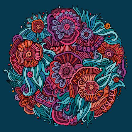 Illustration pour Abstract decorative floral ethnic doodles composition - image libre de droit