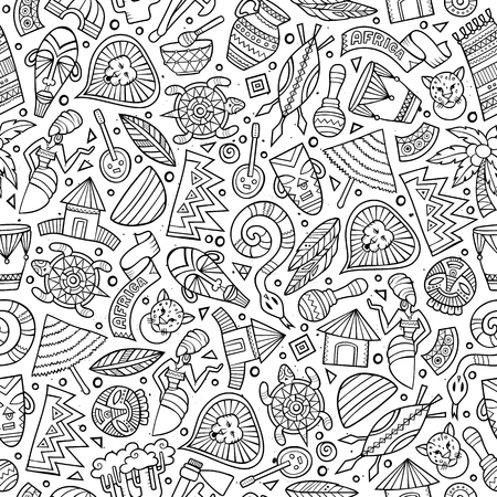 Illustration pour Cartoon cute hand drawn African seamless pattern. Line art detailed, with lots of objects background. Endless funny vector illustration - image libre de droit