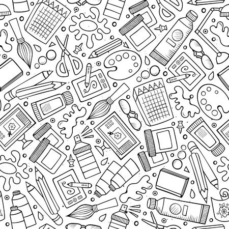 Ilustración de Cartoon cute hand drawn Design and Art seamless pattern - Imagen libre de derechos