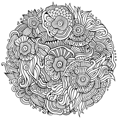 Illustration for Abstract decorative floral ethnic doodles composition - Royalty Free Image