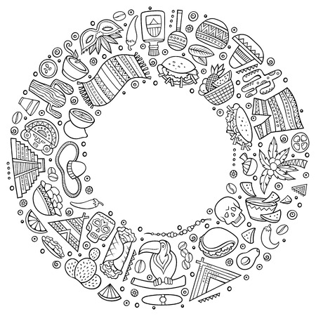 Ilustración de Line art vector hand drawn set of Latin American cartoon doodle objects, symbols and items. Round frame composition - Imagen libre de derechos
