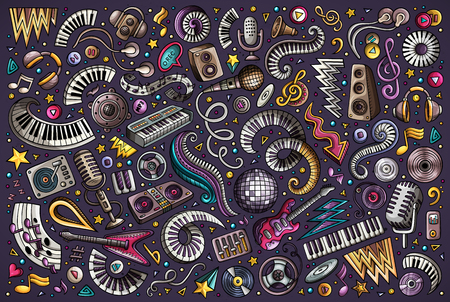 Illustrazione per Colorful vector hand drawn doodles cartoon set of disco music objects and elements - Immagini Royalty Free