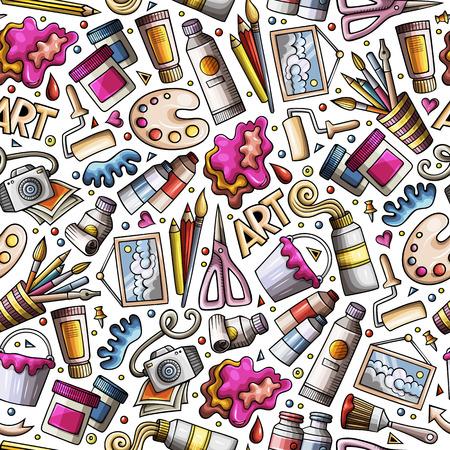 Illustrazione per Cartoon cute hand drawn Design and Art seamless pattern - Immagini Royalty Free