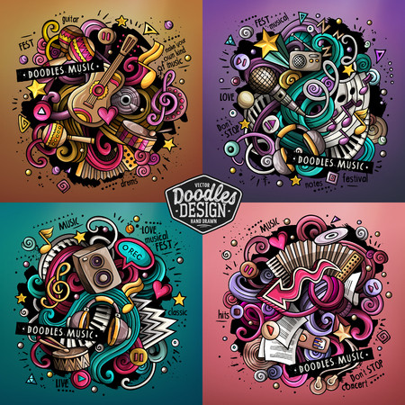 Illustration pour Music cartoon vector doodle illustration. Colorful detailed designs with lot of objects and symbols. 4 composition set. All elements separate - image libre de droit