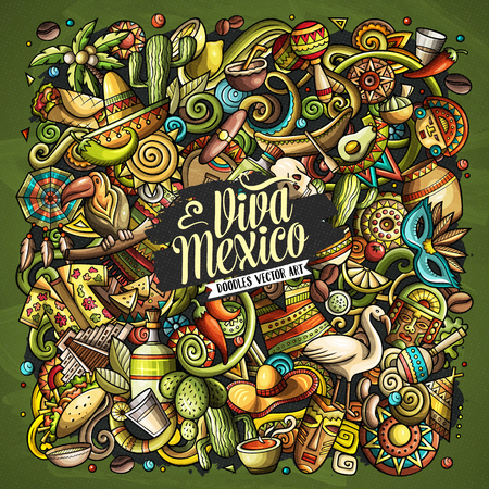 Illustration for Cartoon vector doodles with Viva Mexico text illustration. - Royalty Free Image