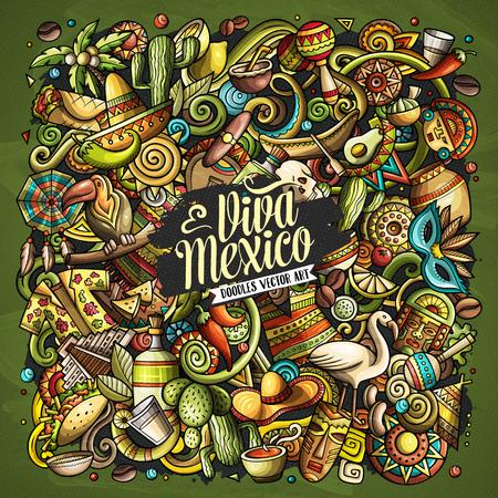 Illustration pour Cartoon vector doodles with Viva Mexico text illustration. - image libre de droit