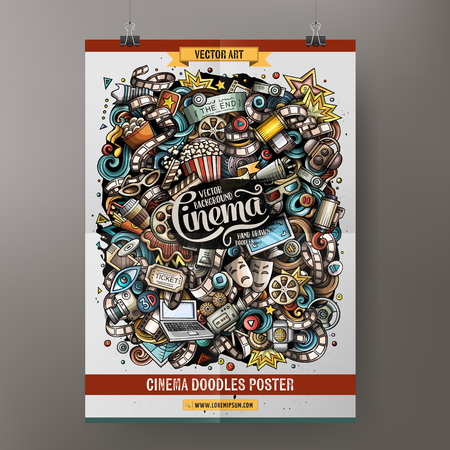 Illustration pour Cartoon colorful hand drawn doodles cinema poster template. Very detailed, with lots of objects illustration. Funny vector artwork. Corporate identity design. - image libre de droit