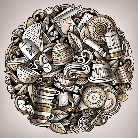 Ilustración de Cartoon vector doodles Tea illustration. Monochrome, detailed, with lots of objects background. All objects separate. Toned Cafe funny round picture - Imagen libre de derechos