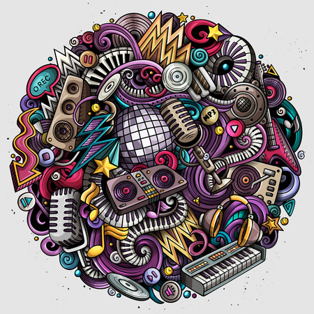Illustration pour Cartoon vector doodles disco music illustration. - image libre de droit
