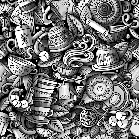 Ilustración de Cartoon cute doodles hand drawn Tea House seamless pattern - Imagen libre de derechos
