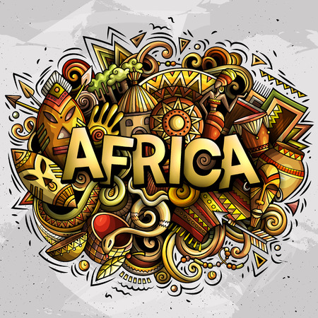 Illustration pour Cartoon cute doodles Africa word - image libre de droit