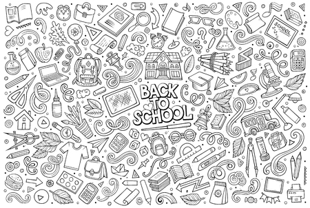 Illustration pour Vector doodle cartoon set of School objects and symbols - image libre de droit