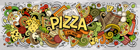 Illustration pour Cartoon cute doodles Pizza word - image libre de droit