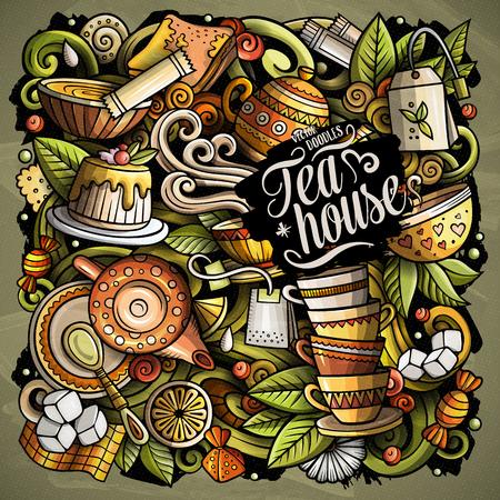 Ilustración de Cartoon vector doodles Tea time illustration - Imagen libre de derechos