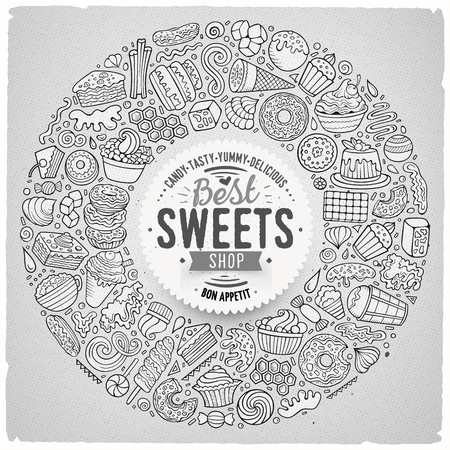 Illustration pour Line art vector hand drawn set of Sweet food cartoon doodle objects, symbols and items. Round frame composition - image libre de droit